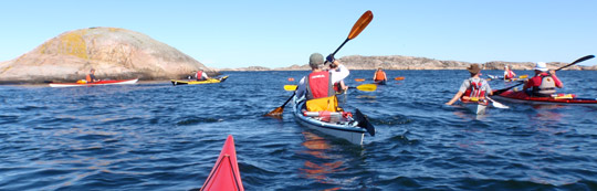 Here the KF Öresund kayaks are reaching the Rish islet, and it is now time to turn more north.