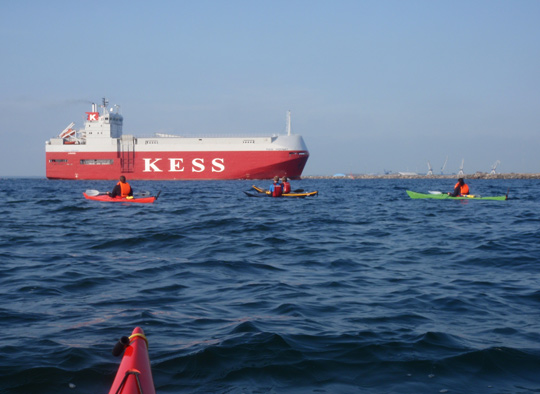 some members of KF Öresund admiring the big ship KESS when it passes outside Malmö harbour