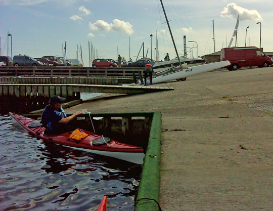 Another kayaker launching from skovshoved