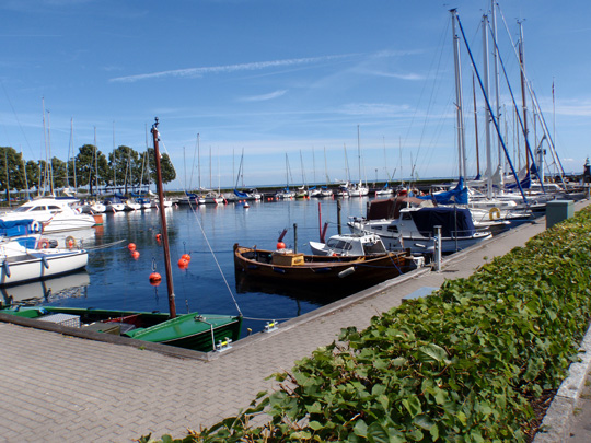 Hellerup Harbour with ships looking idyllic