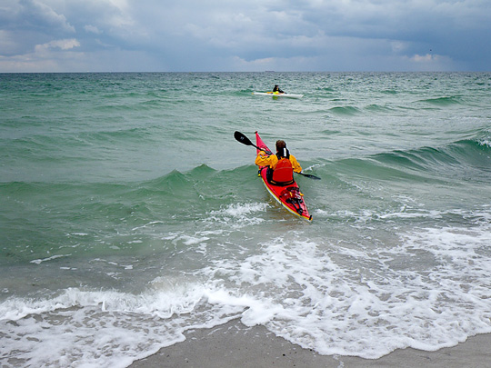 Mats In Kayak Leaving South West Side of Falsterbo Ness in waves