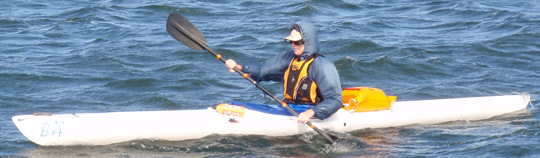Example of kayak with straight lines and bow and stern in about same height as mid section. When you choose kayak. this could be suitable for long kayak tours.