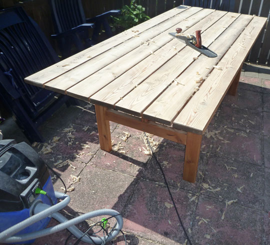 The Veritas No7 plane lying on a freshly built garden table. It has been used for planing the table, since the Festool Rotex turned out to be a slower tool and with less planing ability.